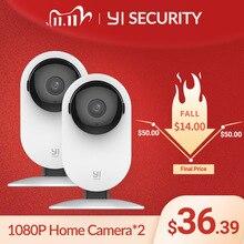Yi 1080p câmera em casa 2 pces ai sistema de vigilância de segurança ip de detecção humana wi fi yi nuvem câmera disponível (eua/edição da ue)