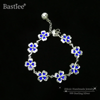 Clover Flower 999 Sterling Silver Bracelet femme Cloisonne Enamel Luxury Jewelry Boho Handmade Blue Bracelets For Women Vintage