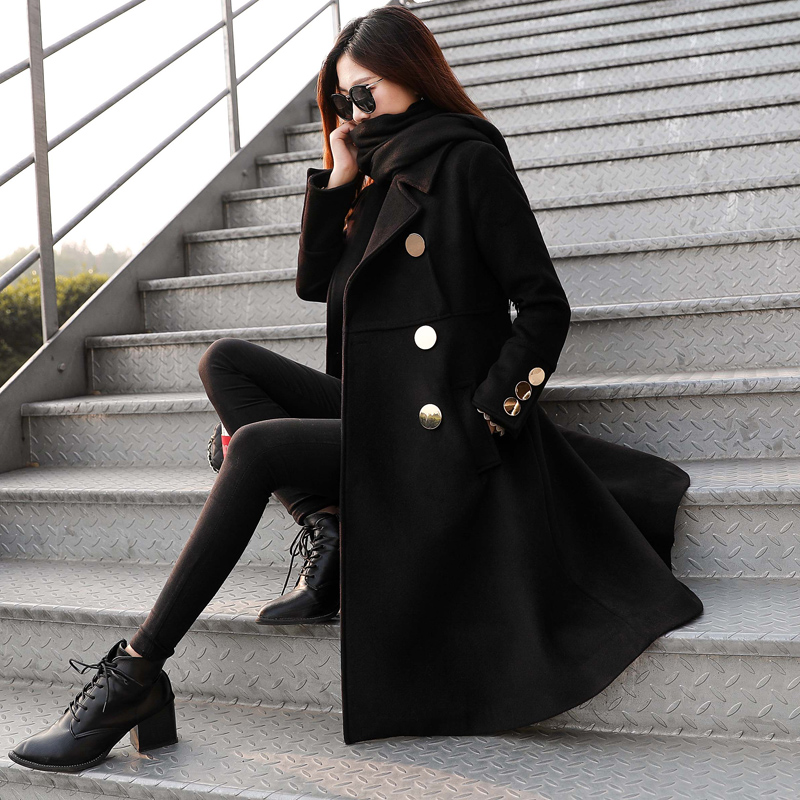 Abrigos de lana mujer invierno negro elegante lana abrigos doble pecho manga larga delgada mezcla de lana abrigo caliente