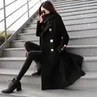 Abrigos de lana mujer invierno negro elegante lana abrigos doble pecho manga larga delgada mezcla de lana abrigo caliente - 1