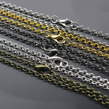 10pcs/lot 3mm Gold Silver Black Antique Bronze Color Link Chain Necklace with Lobster Clasp fit DIY Jewelry Making Findings 60cm