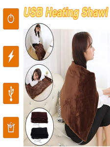 Electric-Heating-Blanket Heated Shawl 3-Heat-Settings USB with Timing-Function -E0 Washable