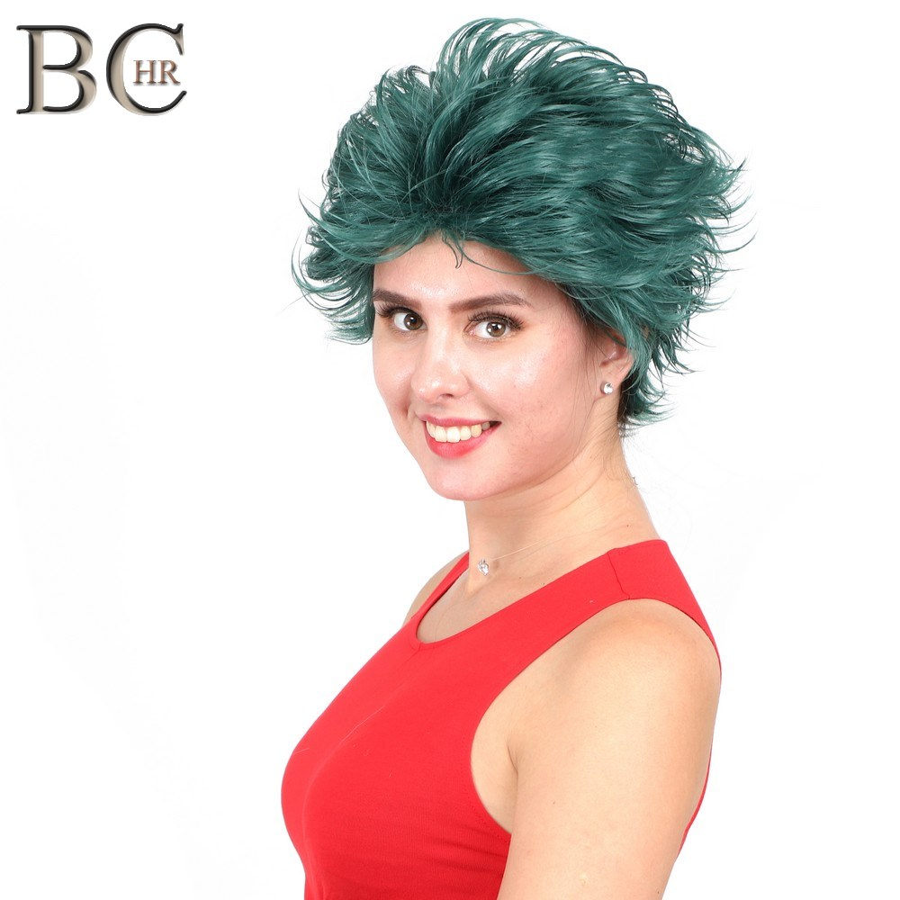 BCHR Short Anime Cosplay Deku Wigs Dark Green Synthetic Wig for My Boku no Hero Academia Midoriya Izuku Costume Wig-in Synthetic None-Lace  Wigs from Hair Extensions & Wigs