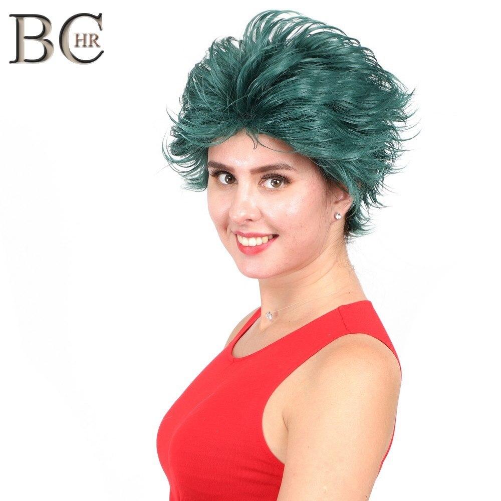 Bchr curto anime cosplay deku perucas peruca sintética verde escuro para o meu boku nenhum herói academia midoriya izuku traje peruca