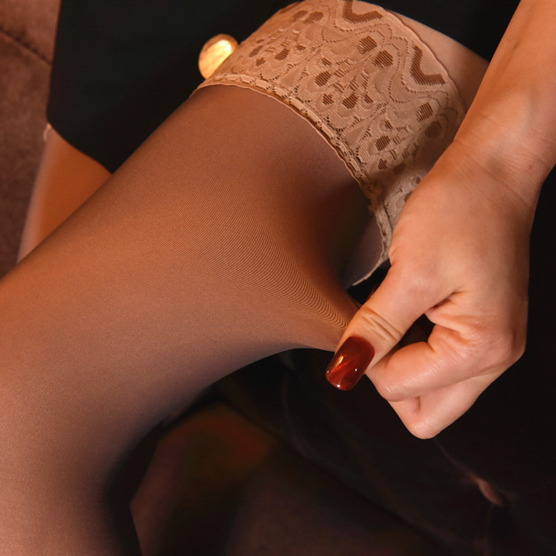 Winter Matte Imitation Skin Women Stockings False Transparent Elastic Sexy Tights Warm Thick Non-slip Girls Hosiery Plus Velvet