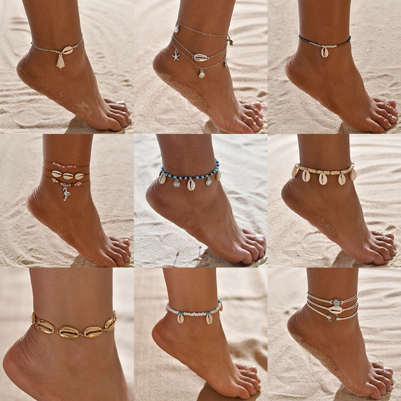 Wukalo Bohemian Natural Sea Shell Conch Anklets For Women Ankle Bracelet on Leg Chain Shell Gold Boho Anklet Beach Foot Jewelry