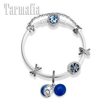 Original 925 Silver Silver Charm Bracelets for Women Blue Enamel Star Pendant CZ Flower Beads Snake Bone Bracelets Party Jewelry