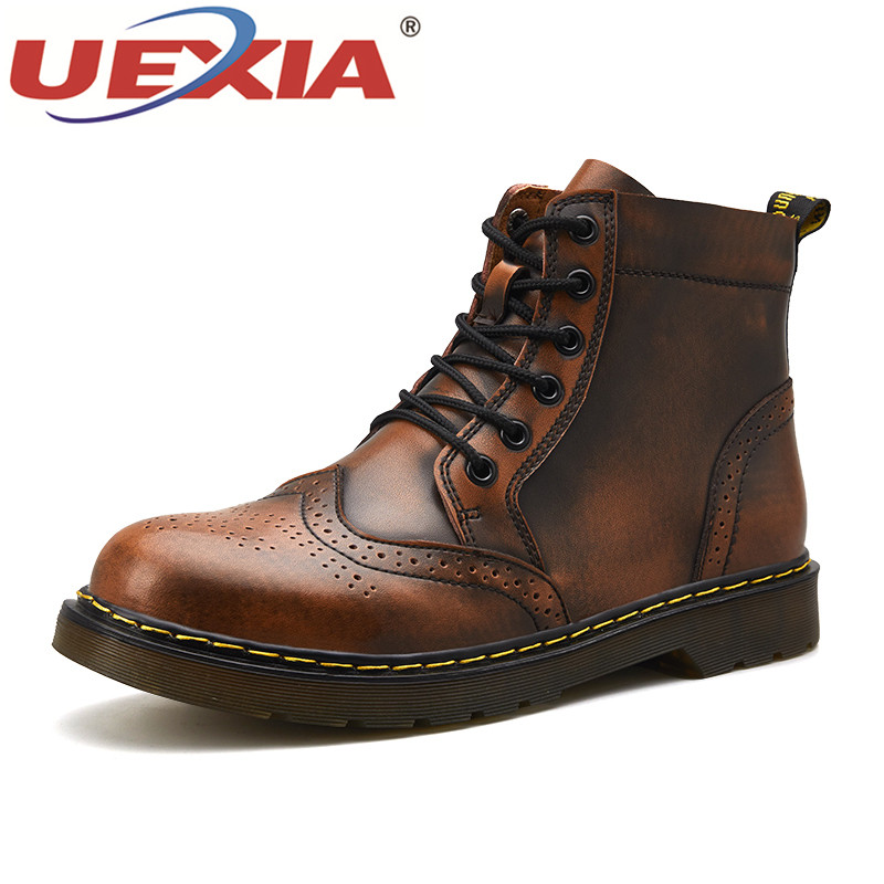 UEXIA High Quality Winter Men Shoes Super Warm Plush Fur Leather Waterproof Ankle Boots Riding Boots Outdoor Snow Men Shoes Bost