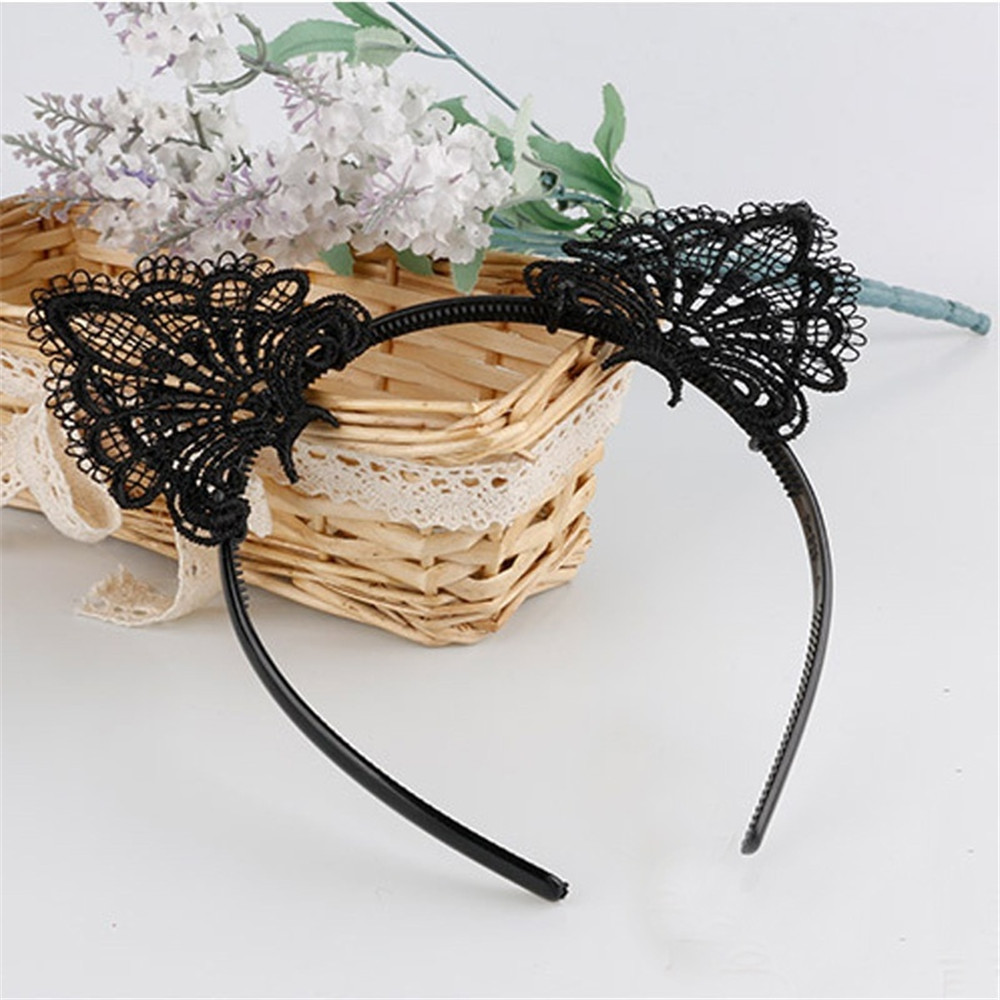 Clothes Accessories Lace Women Sexy Headband 2PC Girls Black Lovely Cat Ear Head Chain Jewelry 20cm Holiday Polyester Headband