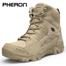 Męskie buty taktyczne buty wojskowe męskie wojskowe pustynne wodoodporne buty robocze bhp wspinaczka buty górskie kostki męskie buty outdoorowe tanie tanio PHERON Podstawowe Flock Połowy łydki Stałe Cotton Fabric RUBBER Okrągły nosek Zima Niska (1 cm-3 cm) men boots Lace-up