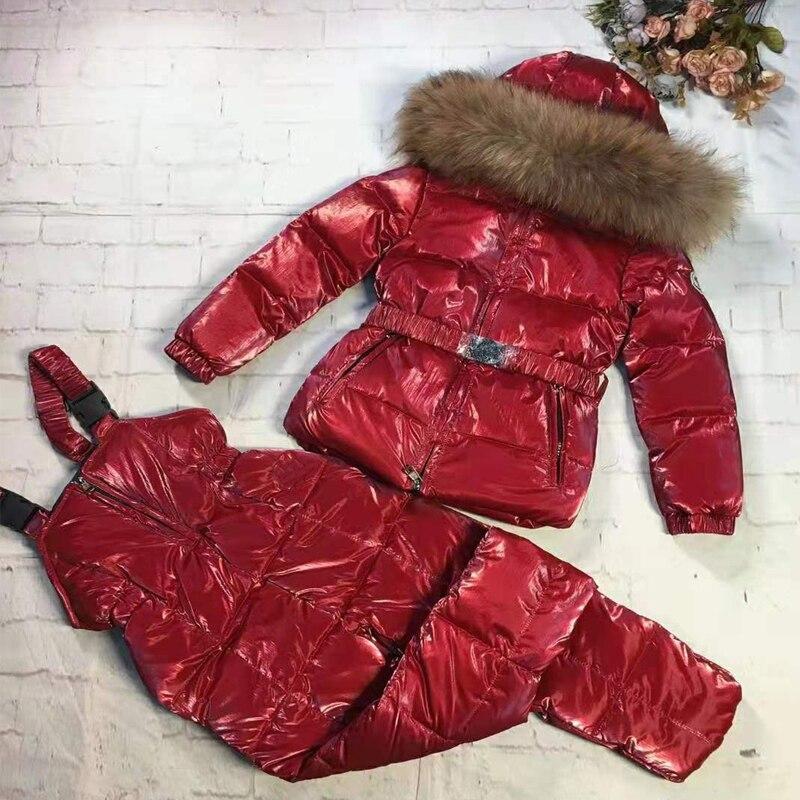 Детский костюм пуховая куртка пуховое пальто из двух предметов для девочек Зимний лыжный костюм на лямках 30 утолщенная одежда с меховым капюшоном для девочек