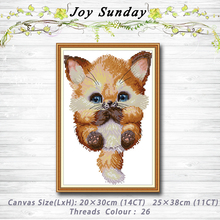 Lovely Fox animal decor Patterns 14CT 11CT Counted Cross Stitch Sets embroidery sets Needlework kits Home Decoration stamped cross stitch kits joy sunday oil painting girl printed 11ct 14ct counted home decor embroidery handmade needlework sets