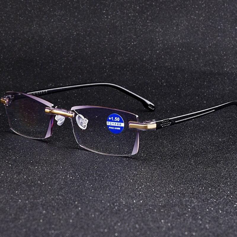 Антибликовыми свойствами светильник очки для чтения без оправы для мужчин и женщин модные Безрамное пресбиопические очки диоптрий + 0 1,0 1,5 2,...