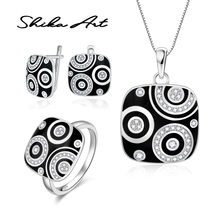 SHIKA ARTJewelry SetsBlack Geometric CZ Stone Ring Earrings Pendent 925 Ster