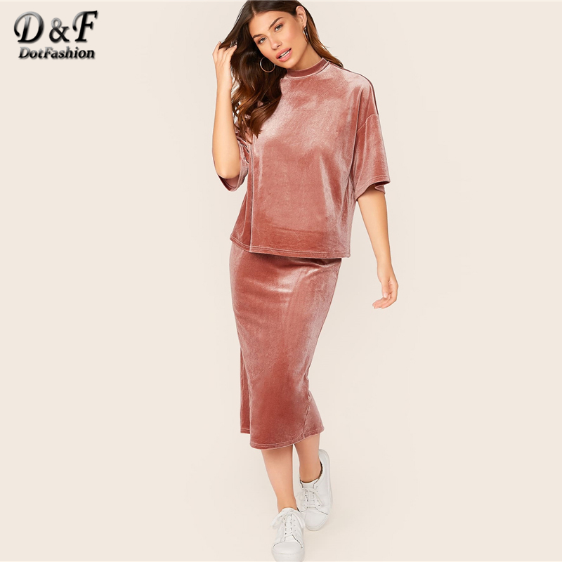 Dotfashion Pink Drop Shoulder Velvet Top And Drawstring Skirt 2 Piece Set Women 2019 Half Sleeve Tee Set Ladies Slit Back Skirts