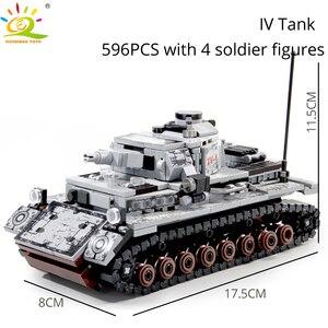 Image 3 - HUIQIBAO wojskowy niemiecki król tygrys zbiornik model klocki armii WW2 figurki żołnierzy człowiek broń cegły dzieci zabawki chłopięce prezent