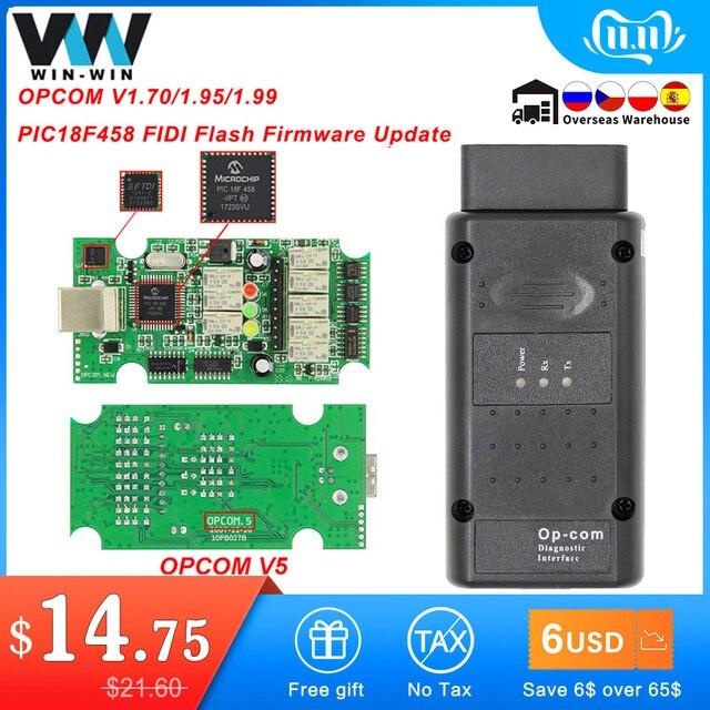 OPCOM V5 For Opel OP COM 1.70 flash firmware update OP COM 1.95 PIC18F458 FTDI CAN BUS OBD OBD2 Scanner Car Diagnostic Auto Tool