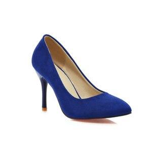 Image 3 - ZawsThia 10cm thin high heels purple blue woman sexy pumps shoes slip on women wedding stilettos ladies shoes big size 10 42 43