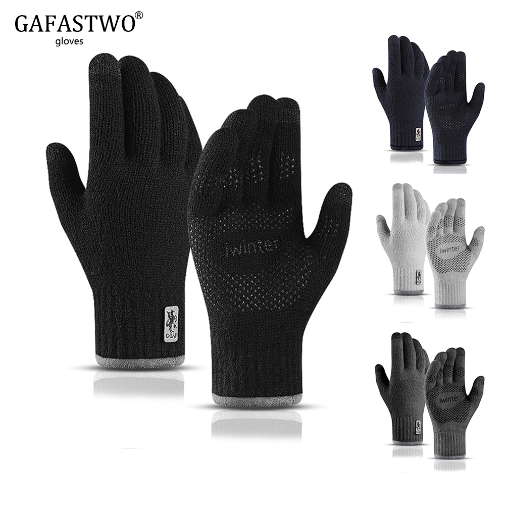 New Men Knitted Touch Screen Gloves Ladies Autumn Winter Outdoor Warm Non-Slip Double-Layer Plus Velvet Mountain Biking