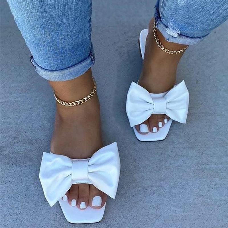 Women Slippers Bowtie Woman Casual Slides 2020 Summer Female Comfort Candy Colors Laides Fashion Square Toe Sandals