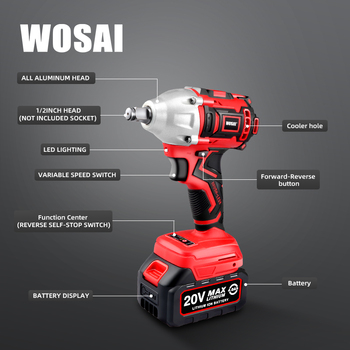 WOSAI 20V Brushless Electric Wrench Impact Wrench Socket Wrench 320N m 4 0AH Li Battery Hand