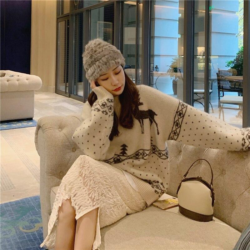 Реальная цена рождественский стиль повседневный корейский пуловер