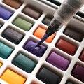 50 Цвета Твердые акварельные Краски s набор металлических Краски коробка с Краски щетка Портативный эскиз акварельные краски комплект, прин...