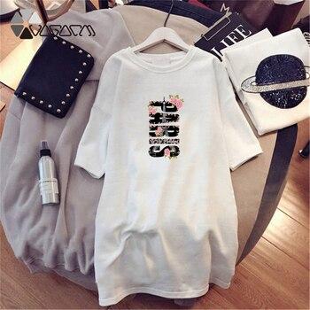 Women Dresses NEVER Series Letter Plus Size Black Mini Dress Loose Summer Long T Shirt Casual Clothes Femme Tops White Sukienka 127