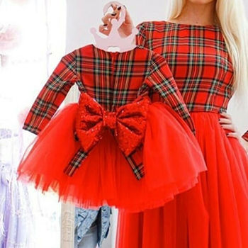 1-5Y Christmas Girls Red Plaid Dress Toddler Baby Kid Girls Long Sleeve Tutu Bow Party Wedding Birthday Dress Girl Xmas Costumes 2016 summer baby girls sequin dress stars sequins tulle bow toddler tutu princess dress girl kids costumes 1 5years sequin dress