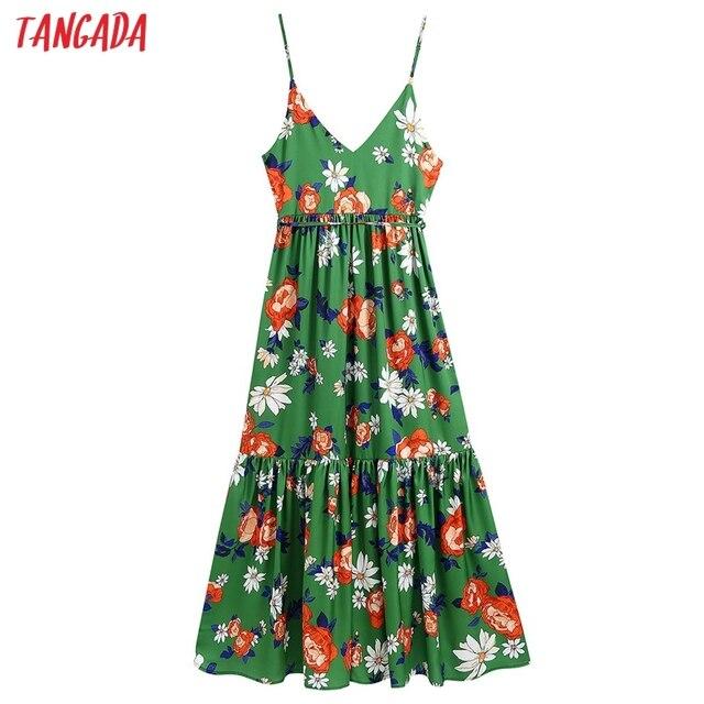 Tangada Women's Long Dress Flowers Print V Neck Strap Adjust Sleeveless 2021 Korean Fashion Lady Elegant Dresses CE310 6