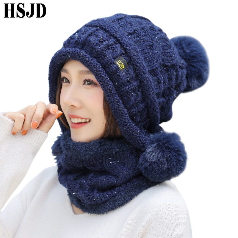 Winter Hats For Women Sequins Knitted Scarf Hat Cute Three Pompom Ear Warm Skullies Beanies Caps Neck Warmer Knit 2 Pieces Set