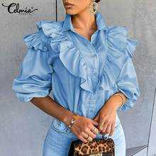 Celmia Women's Blouses Ruffled Long Sleeve Elegant Office OL Shirts 2021 Spring Buttons Casual Tunic Tops Solid Blusas Femininas