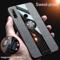 Fall Für Huawei Honor 9X Premium Ring Halter Stoff Hard Cover Weiche Rahmen Tuch Telefon Fall Für Honor 9X Globale version