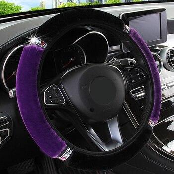 Universal 37-38cm Diameter Soft Plush Rhinestone Car Steering Wheel Cover Interior Accessories Steering-Cover Car-styling