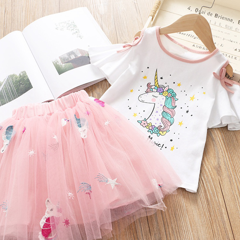 Unicorn <font><b>Baby</b></font> Girl Kids Outfits Girls Dress 2pc Clothes <font><b>Set</b></font> Summer <font><b>Tshirt</b></font> + Skirt Children Dresses for Girl 3-8 Years Party Dress image