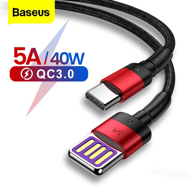 Baseus 5A USB Typ C Kabel Für Huawei Mate 20 P30 P20 Pro Lite Schnelle Lade USB-C Ladegerät USB C typ-c Kabel Für Xiaomi mi 9 8