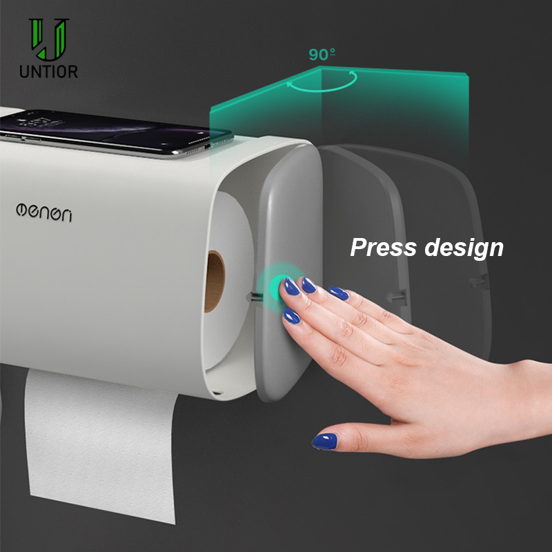 UNTIOR Plastic Waterproof Toilet Paper Holder Wall Mounted Bathroom Adjustable Double Layer Storage Box Portable Tissue Box