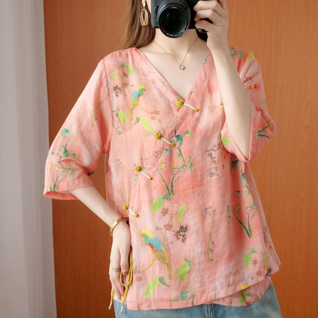 Oversized Women Cotton Linen Blouses Shirts New 2020 Summer Vintage Style V-neck Floral Print Female Loose Casual Tops S1668 1