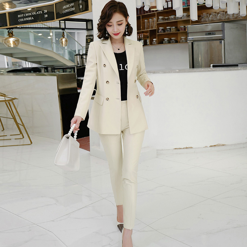 Professional Wear Women's Suit Temperament Casual Slim Large Size Blazer Casual Office Pants Set 2019 Winter Women's Clothing
