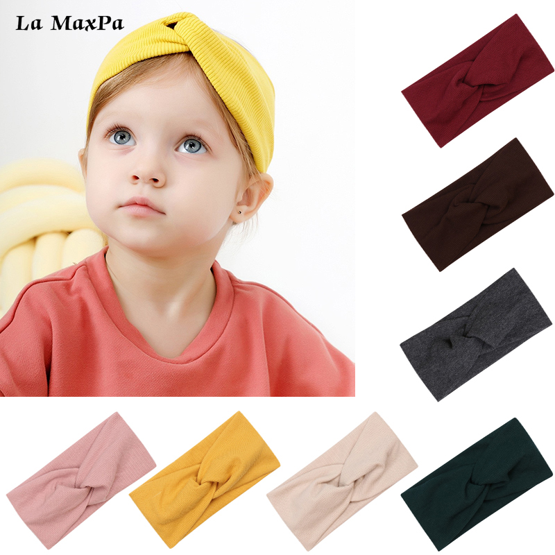 Autumn Solid Cross Knitted Baby Headband For Girls Twisted Handmade Bow Baby Turban Hairband Newborn Children Hair Accessories
