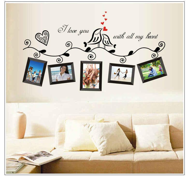 ภาพต้นไม้ครอบครัว Birds Wall Art สติกเกอร์ไวนิลกรอบรูปลอกภาพจิตรกรรมฝาผนัง Home Decor แฟชั่นขายร้อน