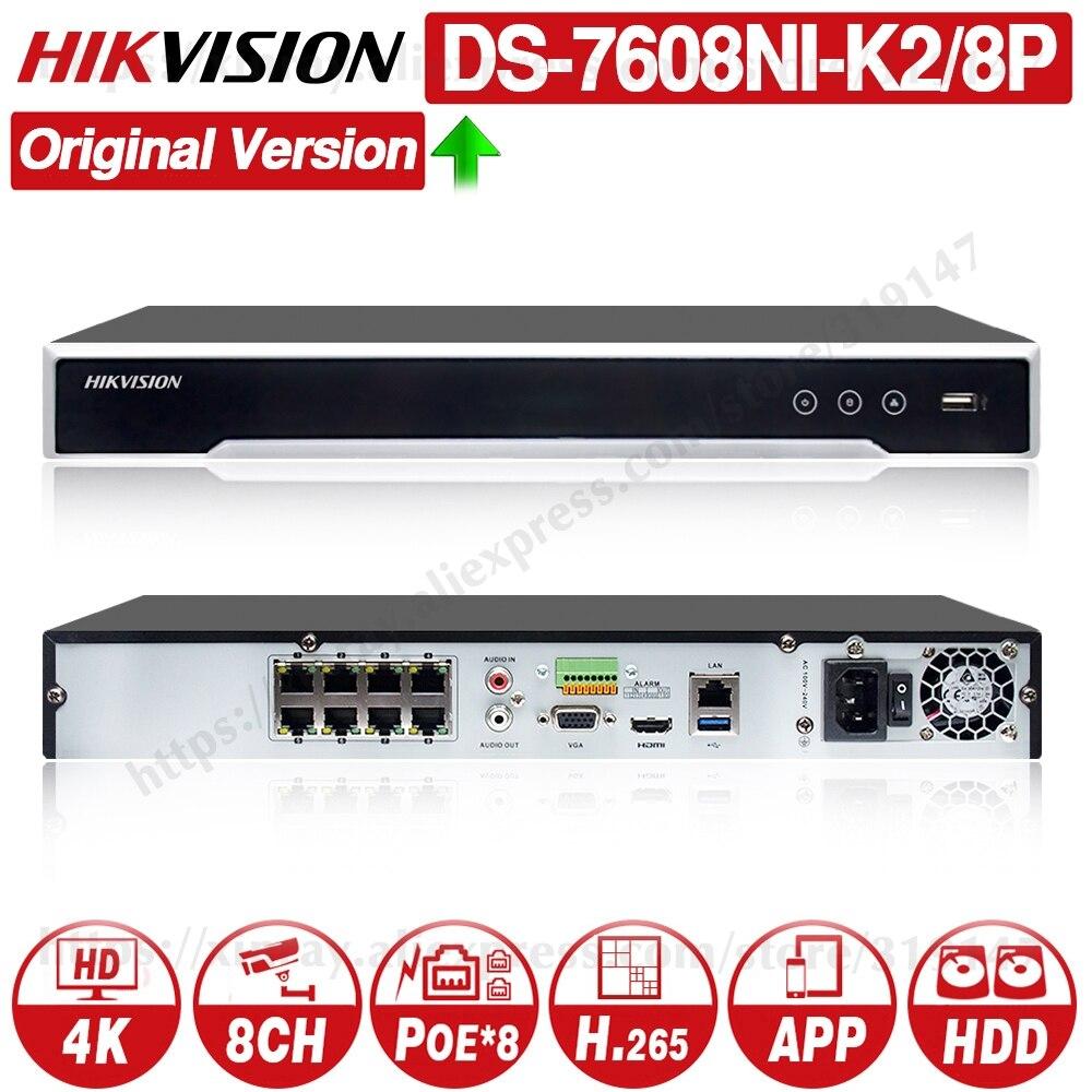Hikvision Original NVR DS-7608NI-K2/8P 8CH POE NVR 8MP 4K Rekord 2 SATA für POE Kamera Sicherheit netzwerk Video Recorder