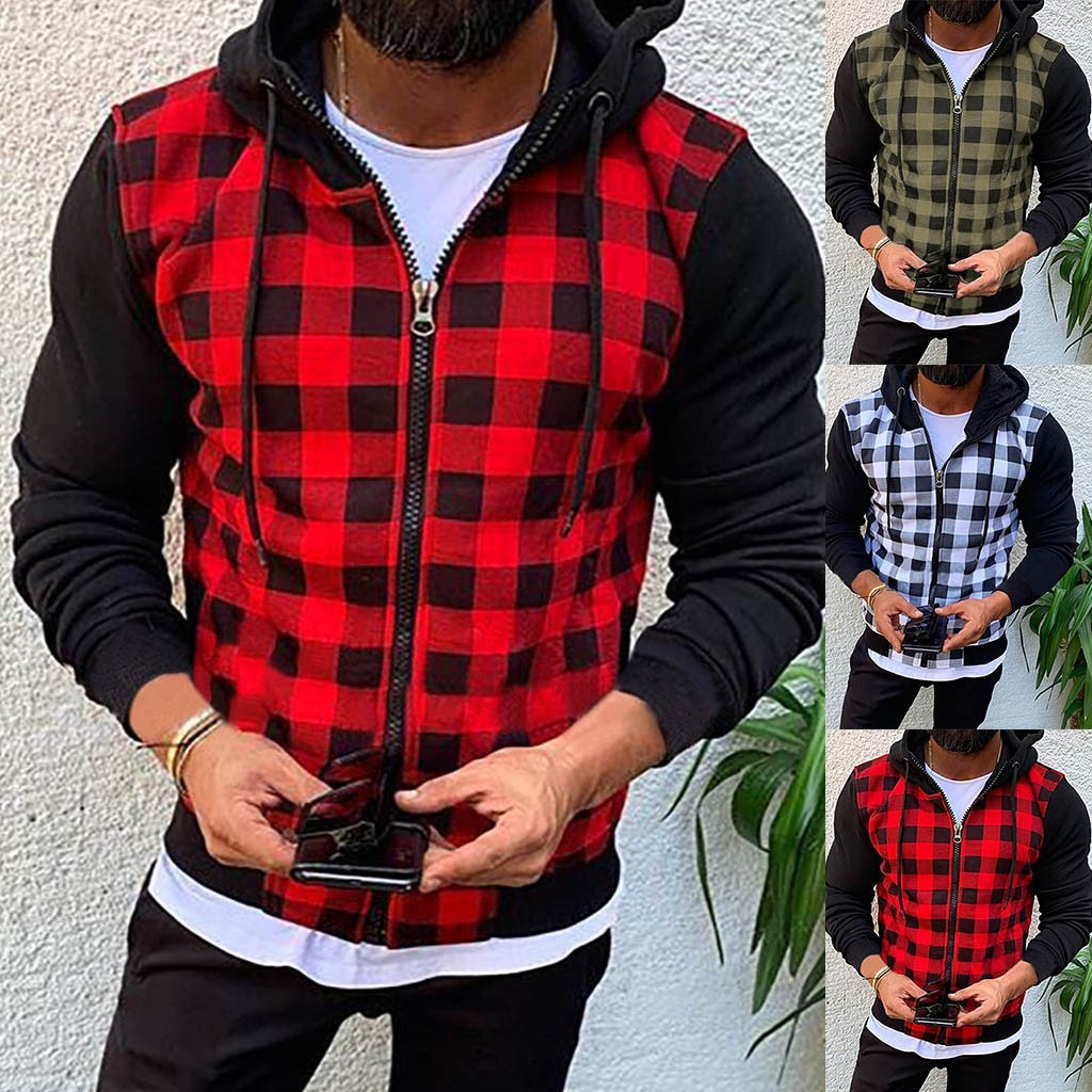 Man Plaid Patchwork Hood Sweatshirt Causal Long Sleeve Shirt Coat Zipper Jacket  Plus Size M-3XL Hoodie толстовка мужская#45