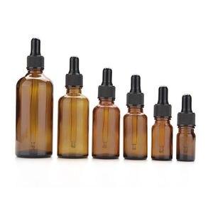Image 4 - 20 sztuk 5ml/10ml/15ml/20ml/30ml/50ml pusty bursztyn brązowy szklany zakraplacz butelki olejek aromaterapia pipety pojemniki