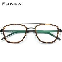FONEX acétate alliage lunettes hommes Vintage carré myopie optique lunettes cadres femmes Prescription sans vis lunettes 98628