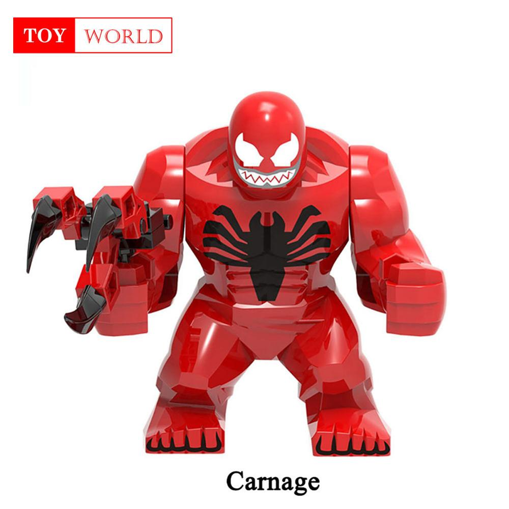 Big Size Building Block Figures Thanos Venom Hulk Batman Spiderman Iron Man Endgame Compatible Duploe Bricks Toys For Childrens