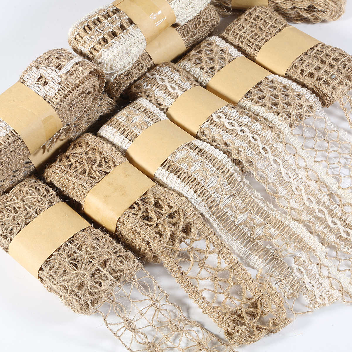 Burlap Flat Cords Hessian Vintage Rustic Hemp Jute Rope Christmas Wedding Party Centerpieces Decoration Gift Wrapping Ribbons