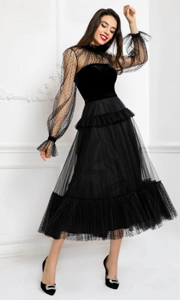 Купить винтаж с высоким воротом и длинными рукавами черный тюль платья