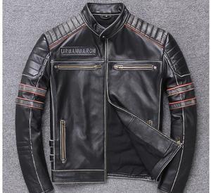 Image 2 - Free shipping.DHL sales New Brand plus size black men skull leather Jackets mens genuine Leather biker jacket.motorbiker coat