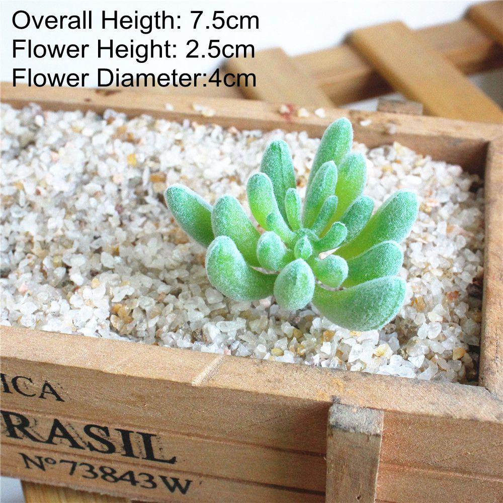Зеленые флокированные искусственные суккуленты, растения, бонсай для рабочего стола, искусственные растения на День святого Валентина, свадебные украшения, искусственные растения - Цвет: Fo Shou Xin